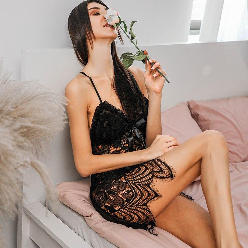 Telige Women Sexy Sleep Lounge Pajamas V-Neck Lace Sleeveless Night Wearing Dress Embroidery Ladies