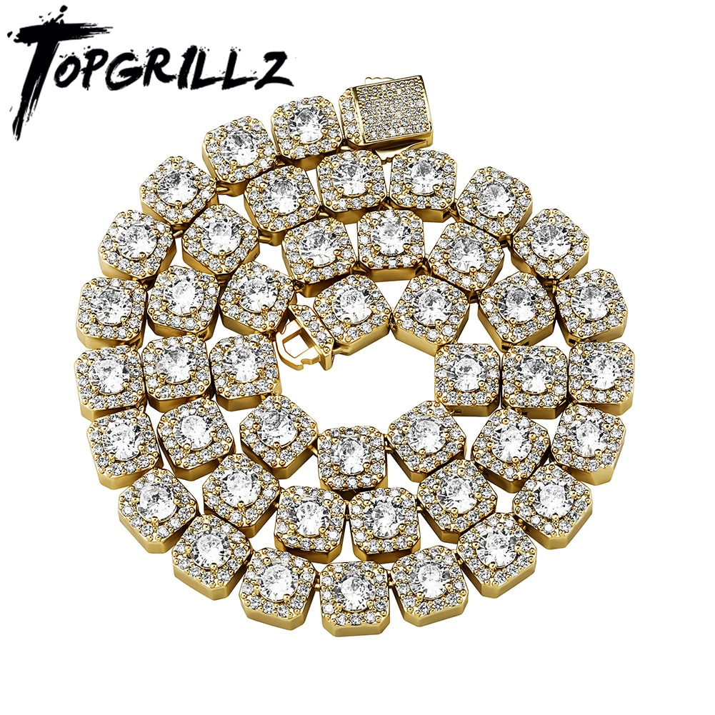 Review TOPGRILLZ Iced Clustered Tennis Chain Necklace in Yellow/White Gold(10mm) With Spring Clasp Hip Hop Fashion Jewelry