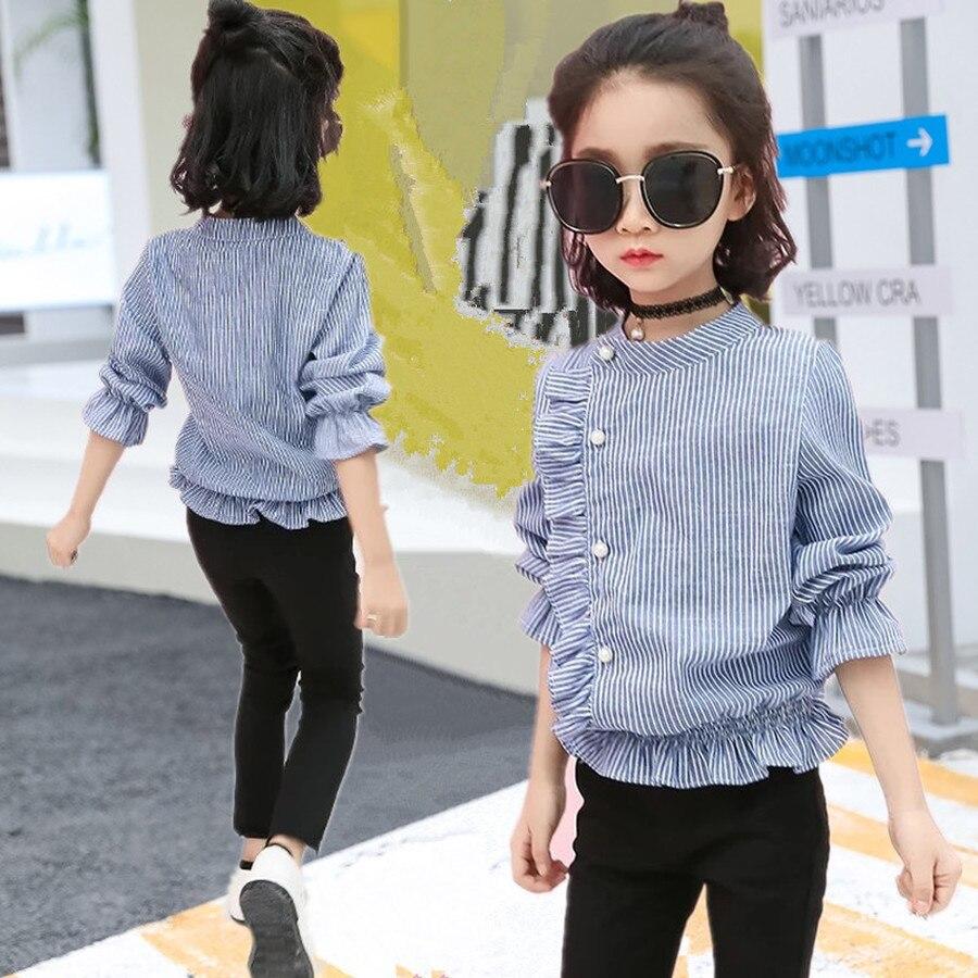 Blusas de niña con volantes camisas de otoño primavera niños a rayas camisa de manga larga niños otoño moda algodón azul Top