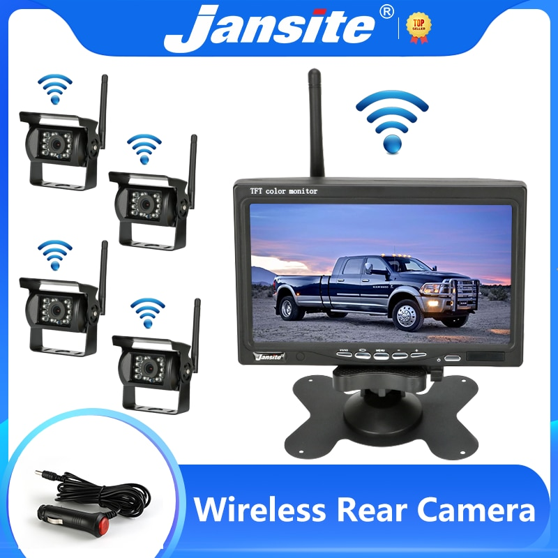 Jansite 7 inch Wireless Rear View Camera with Monitor Reverse Camera for Truck Reversing Car Display 12-24V Night Vision