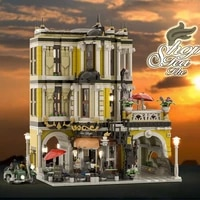 jie star 86124 expert street view series the tea shop building blocks 2985pcs bricks toys model sets children gift