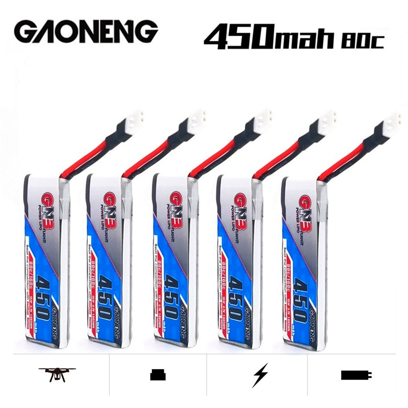 1-10PCS Gaoneng GNB 450mAh 3.7V 1S 80C/160C 1S HV Lipo Battery For RC Helicopter Quadcopter FPV Racing Drone Parts