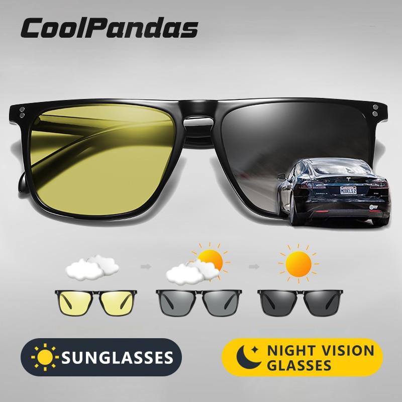 Hot Sale Square Men's Sunglasses Photochromic Polarized Sun glasses Women Outdoor Driving for Day Night Vision Glasses gafas Men