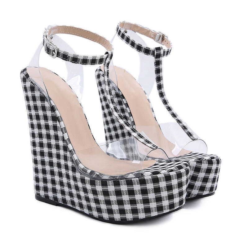 Super High Heels Sexy Party Shoes Fashion Gingham Thick Bottom Wedges Women Sandals Transparent PVC