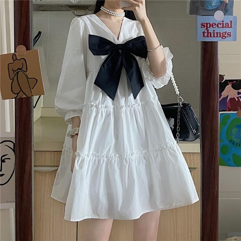 HOUZHOU White Dress Women Kawaii Bow Mini Dresses Summer Preppy Style Cute Harajuku Vintage Outfits Oversize Streetwear