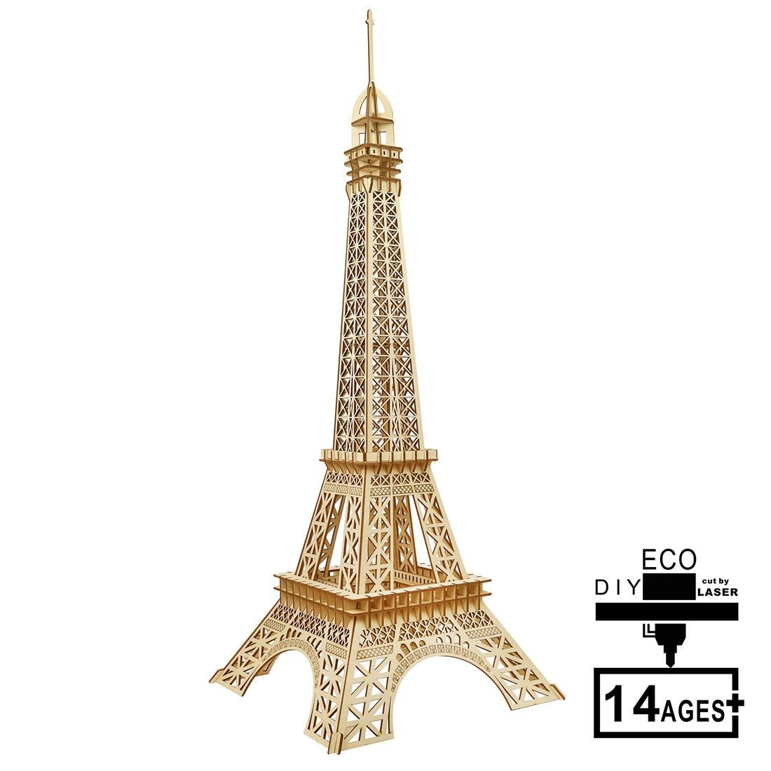 DIY rompecabezas de Torre Eiffel 3D de madera 105 Uds., conjunto de construcción, artesanía de madera, regalo creativo para la decoración del hogar