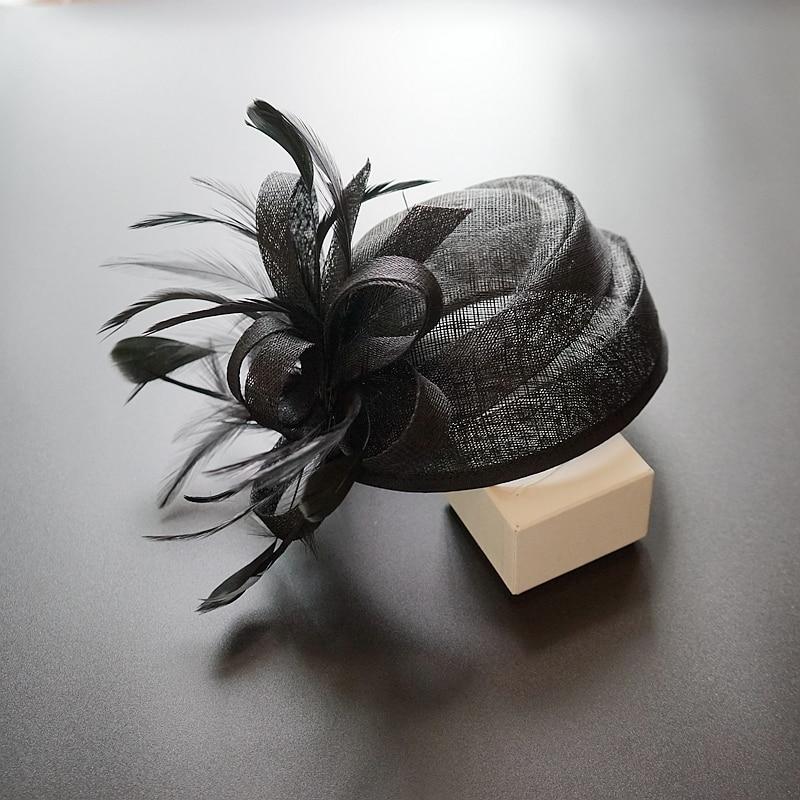 Women Sinamay Fascinator Hat For Wedding Pillbox Hat Flower Lady Derby Cloche Hat Church Dress Party Fedora Cocktail Beret Cap
