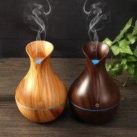 130ml Diffuseur Dhuiles Essentielles Humidificateur Usb Aromatherapie Grain de Bois Vase Arome 7 Lumieres de Couleurs pour La Maison Lampe A Led Electrique