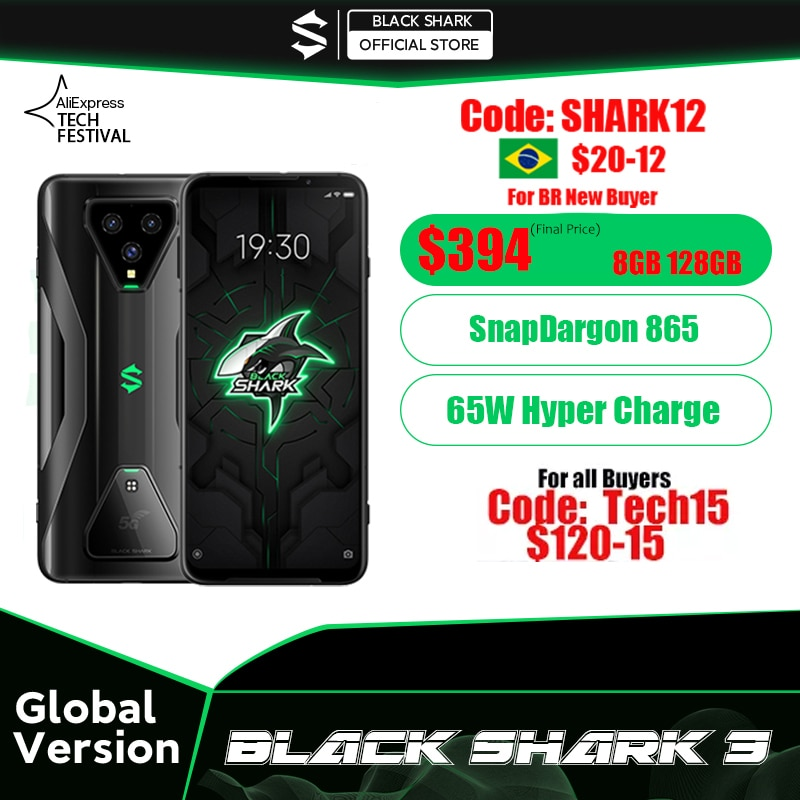 AliExpress - Global Version Black Shark 3  8GB 128GB Snapdragon 865 5G Game Phone Octa Core 64MP Triple AI Cameras 65W Charger JOYUI 11
