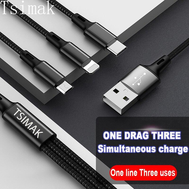 Cable USB 3 en 1 para iPhone 12, cargador de Xiaomi, Cable...