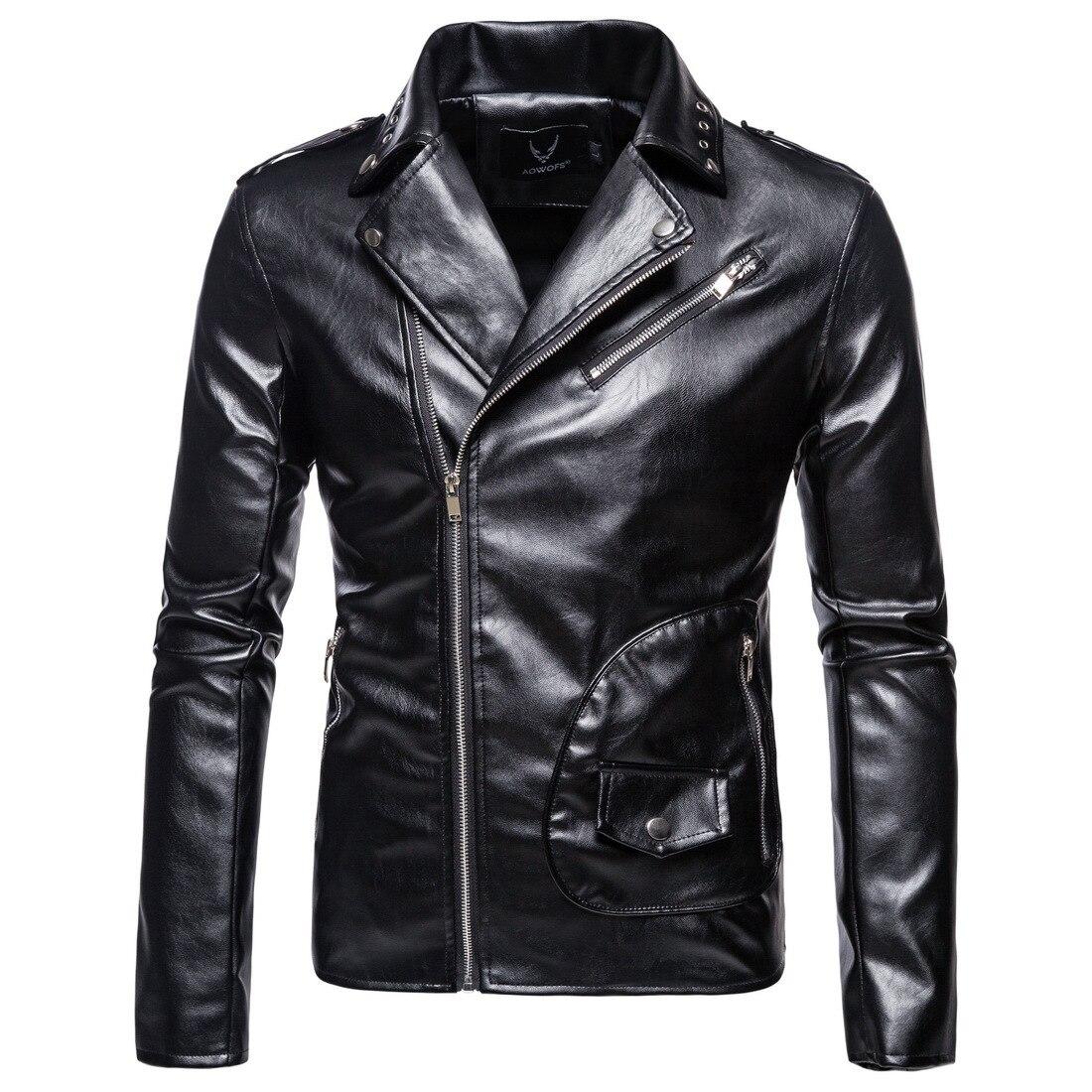 New Arrival  Large Size Man Lapel  Leather Jacket PU Leather Coat Mens Clothing