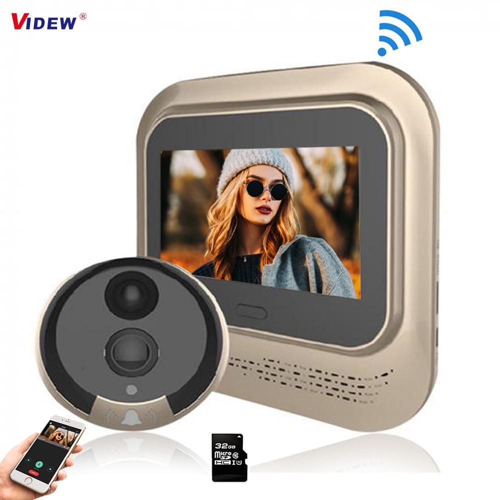 VIDEW 4.3 Inch 1080P Door Peephole Viewer Wifi Video Doorbell Camera Night Vision PIR Motion Detecti