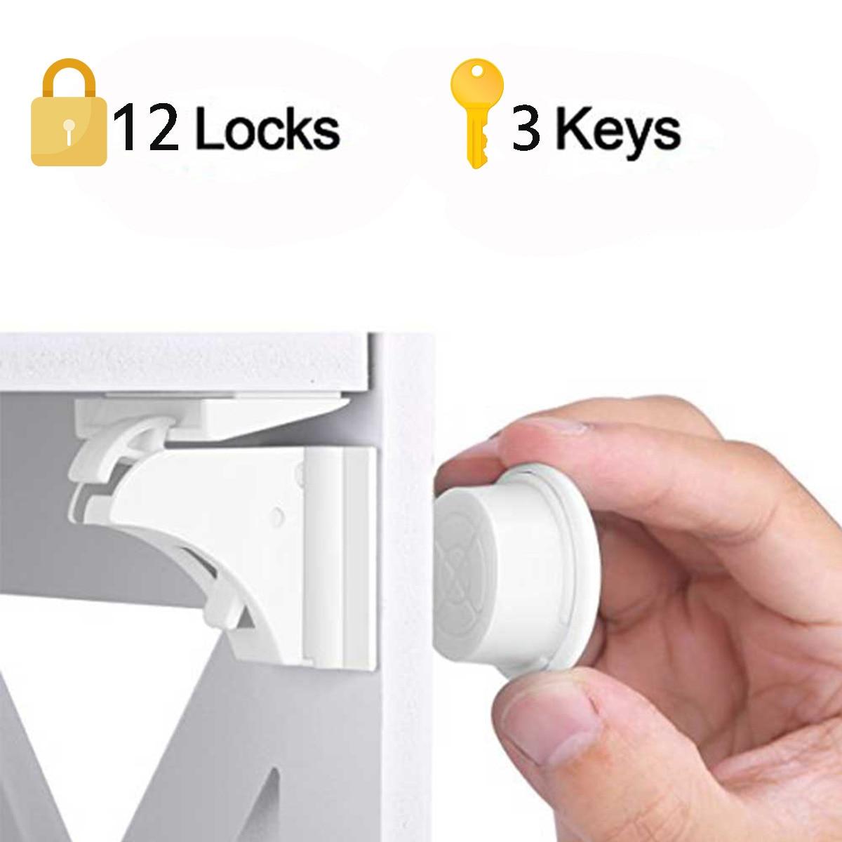 Cerradura magnética para niños, 4-12 cerraduras + 1-3 Llaves, protección de seguridad para bebés, Cerradura para puerta de gabinete, cerradura de seguridad para cajones para niños, cerraduras magnéticas