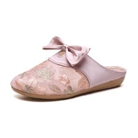 new 2021 women embroidery mesh slippers butterfly knot cover toe mules plates feminino ladies chaussure half slide cozy shoes