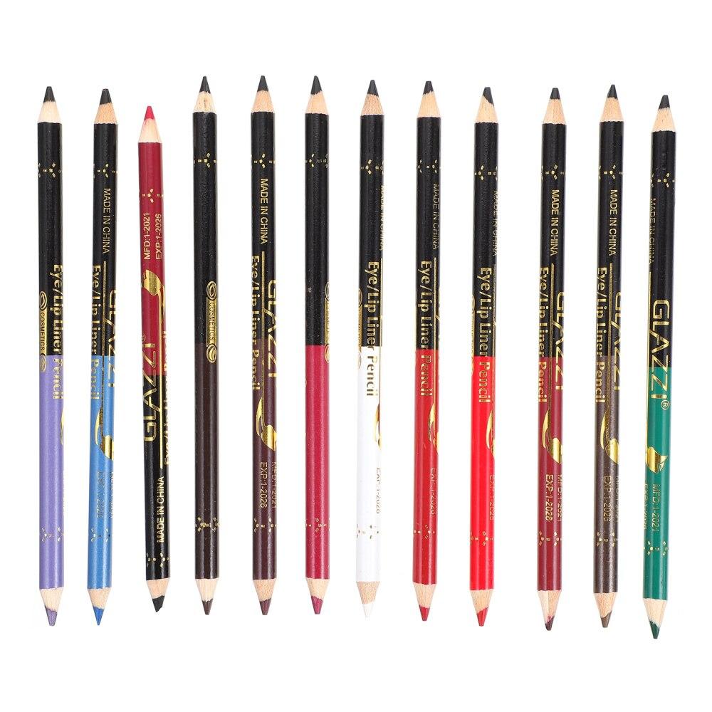 12pcs Makeup Pencil Waterproof Eyeliner Lip Liner Pencils with Sharpener