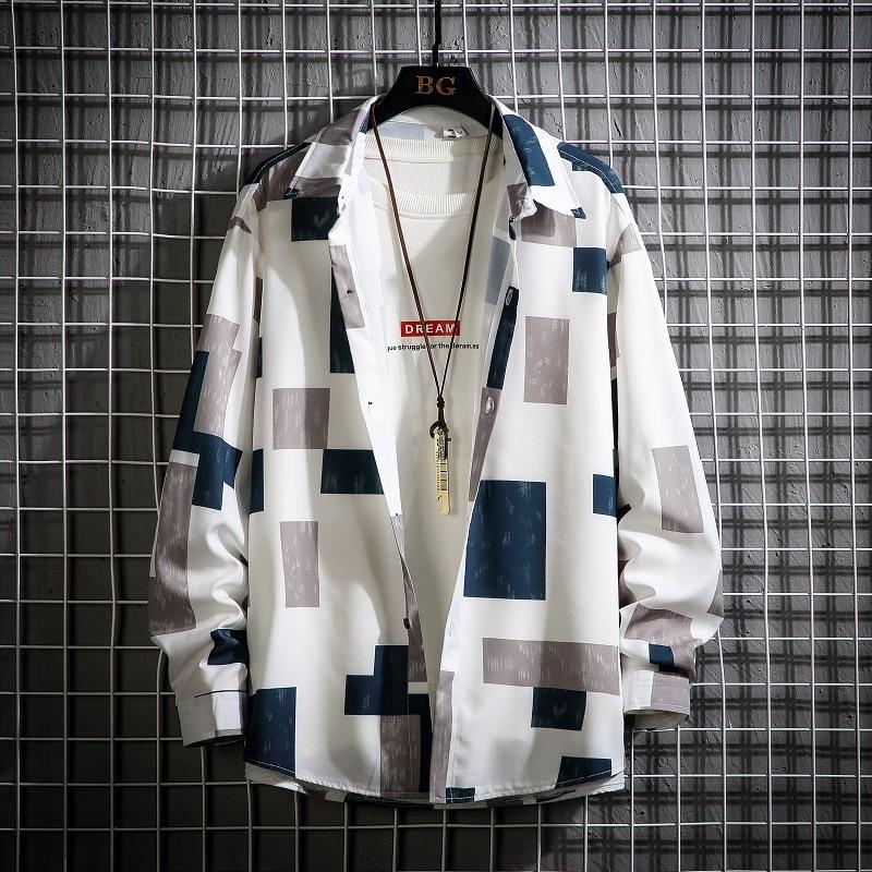 Мужская однобортная рубашка ZOGAA, черно-белая рубашка в клетку с длинными рукавами, отложным воротником и пуговицами, уличная одежда, новинка...