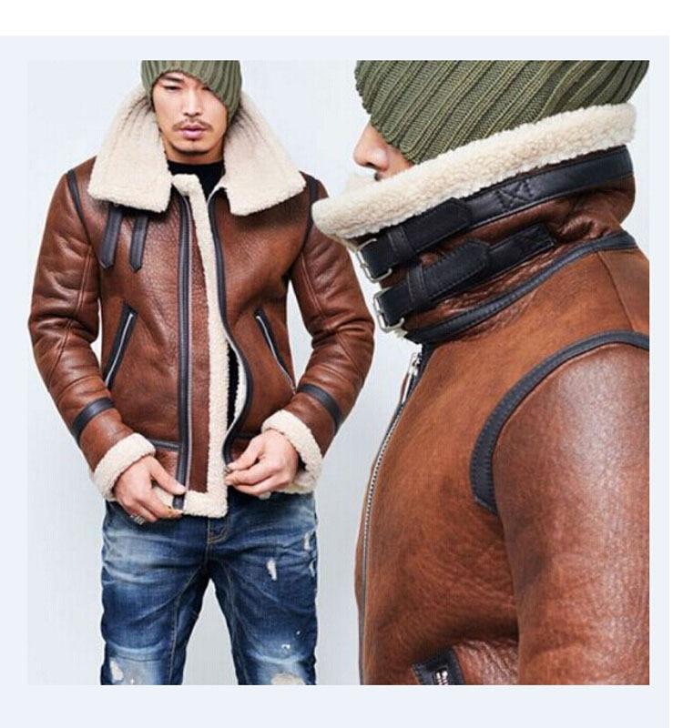 Chaqueta de piel de invierno para hombre, chaqueta de cuero de imitación, abrigo de vellón de cuello alto, forro de lana, Tops de manga larga para hombre, bombardero de cuero de invierno abrigos