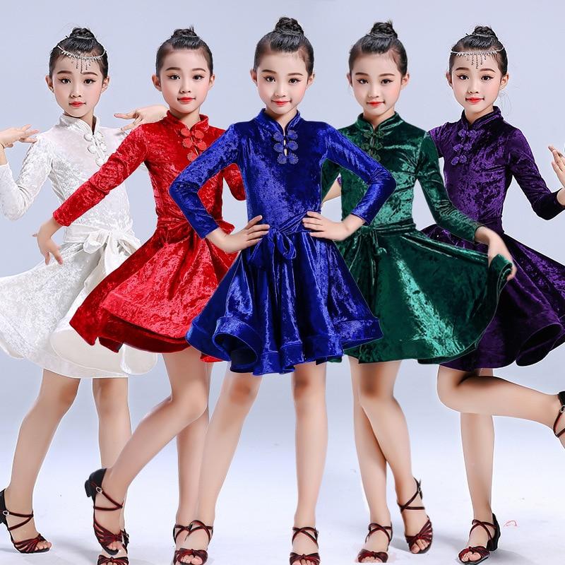 فستان رقص لاتيني مخملي للبنات ، فستان سامبا/السالسا/قاعة الرقص ، أكمام طويلة ، ياقة عالية ، ملابس عرض الأداء