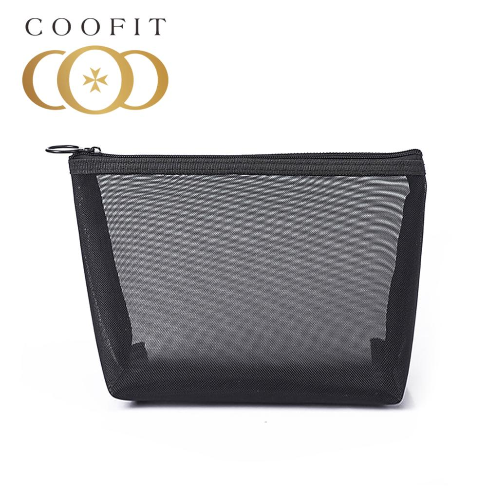 coofit 1pc Toiletry Bag Fashion Black Mesh Multi-Purpose Cosmetic Bag Toiletry Pouch Makeup Pouch Fo