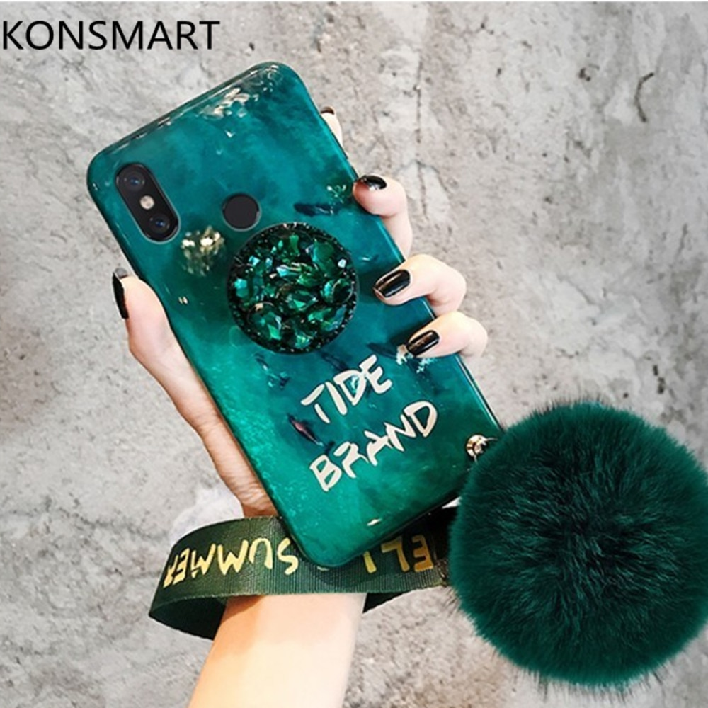 For Xiaomi Redmi Note 7 Note 5 Pro Case K20 K20Pro Redmi Go Redmi 7 7A 5A S2 Rhinestone Holder Blue Light Soft Phone Case Cover