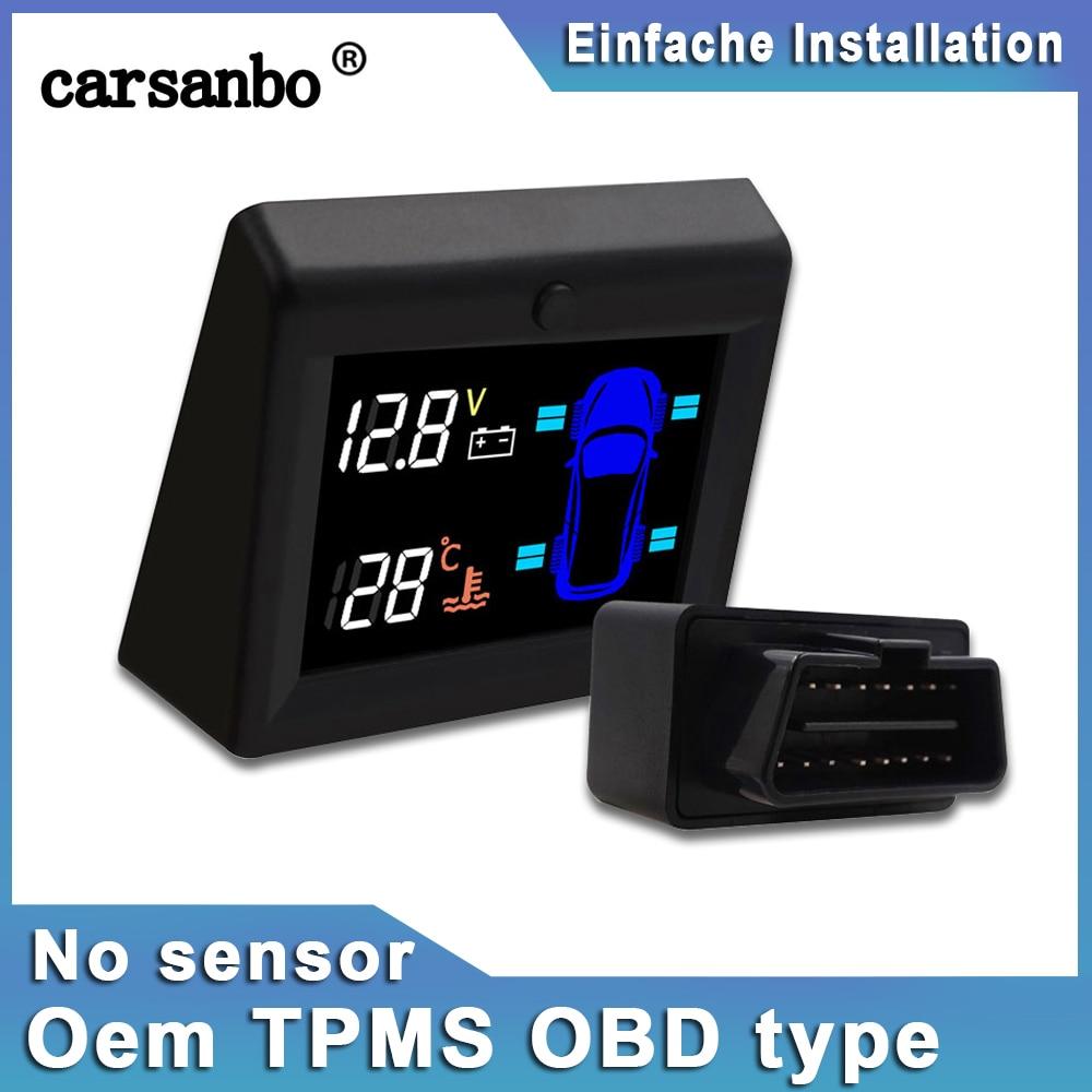 Carsanbo Car Tire Pressure Monitoring System OBD TPMS Car Battery Voltage No Sensors Design OEM LCD Display Temperature Warning