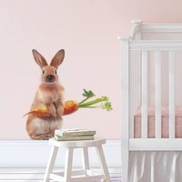 cute rabbit carrot wall stickers living room background decoration kids room bedroom wallpaper home decor children room stickers