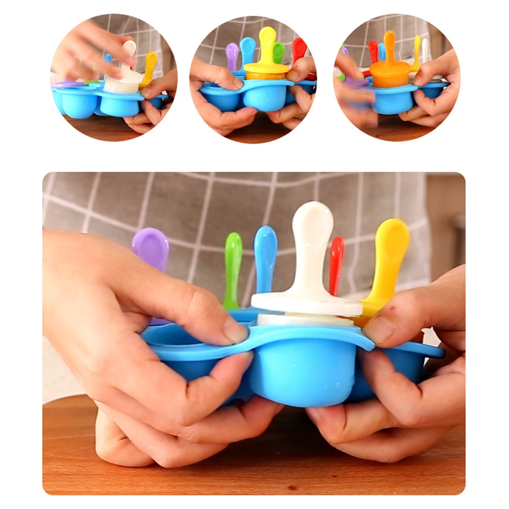 1PC Silicone Ice Pop Mold Non-Stick Ice Pop Maker 9-Cavity Popsicle Mold Baby Food Freezer Tray  - buy with discount