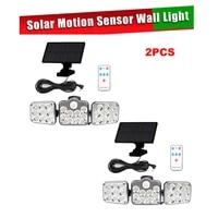 2pcs 138 led remote seperable solar light outdoor motion sensor solar powered garden lamp 3 heads waterproof wall lamp garden st