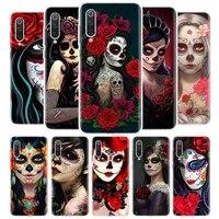 catrina beautiful rose girl skull cover phone case for xiaomi redmi note 9s 10 9 8 8t 7 6 5 6a 7a 8a 9a 9c s2 pro k20 k30 5a 4x