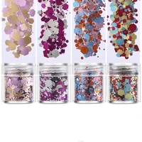 4pots hotpink set glitter flakes sparkly hexagon colorful bling sequins for diy resin crafts jewelry tool pigment