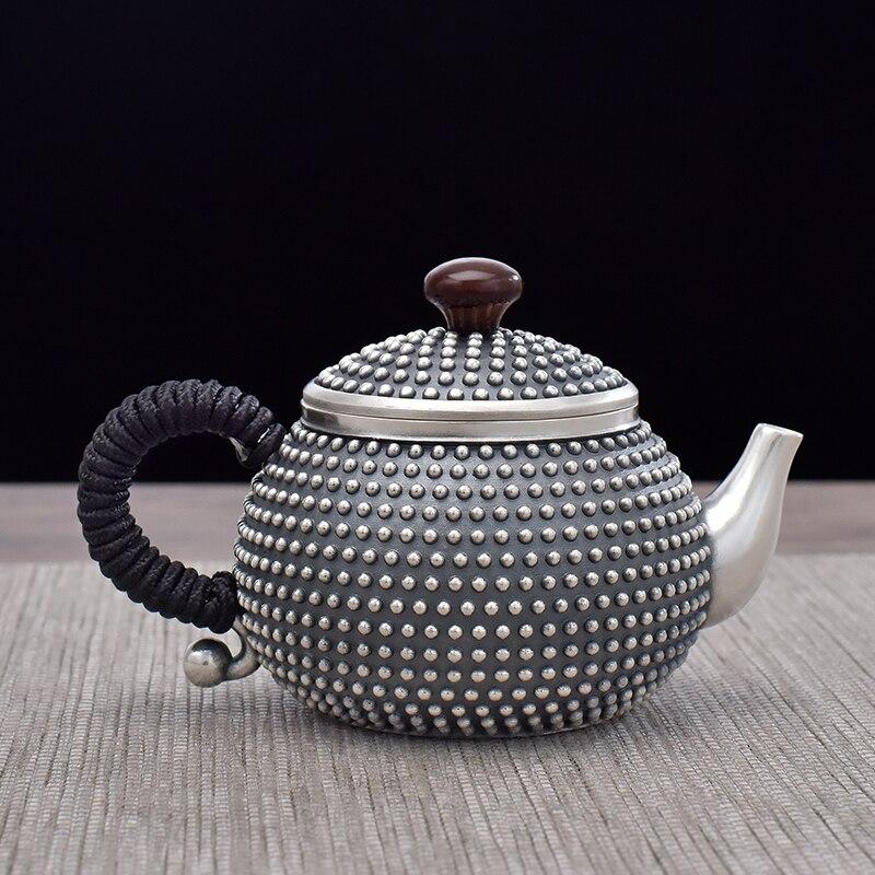 Ag999 Sterling Silver Teapot Rivets Kitchen Utensils Built-in Filter Handmade Coffee Tea Pot