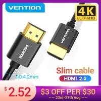 HDMI-кабель Vention 2,0, сверхтонкий разветвитель HDMI 2,0, 4K, для PS4/3 проекторов, HDTV X-box, Nintendo Switch, 3D тонкий кабель HDMI