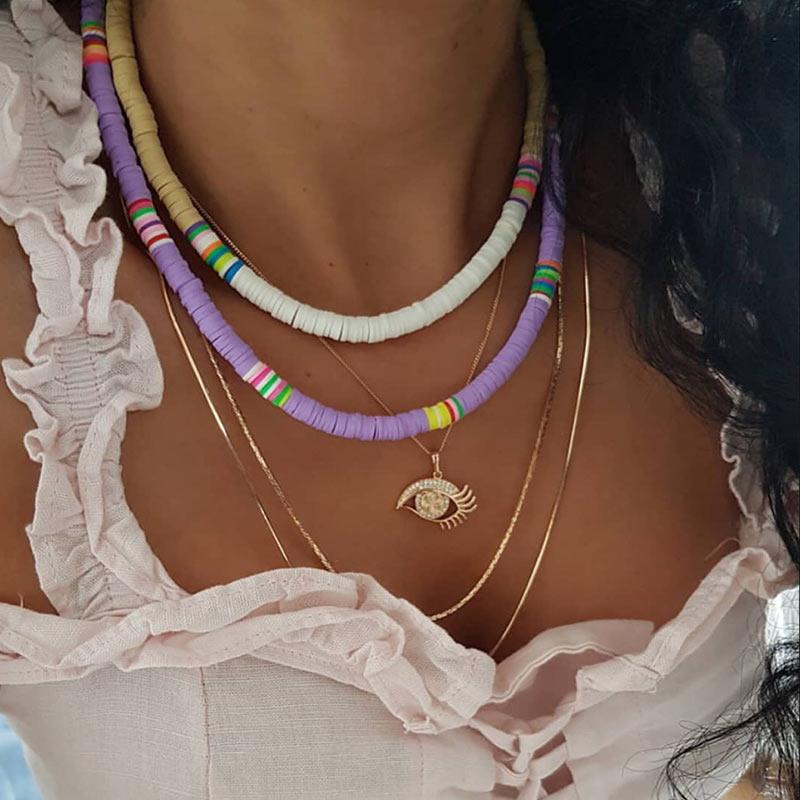 Flatfoosie, Gargantilla de resina de arco iris hecha a mano Bohemia para mujer, collar moderno con colgante de tres capas, joyería 2019