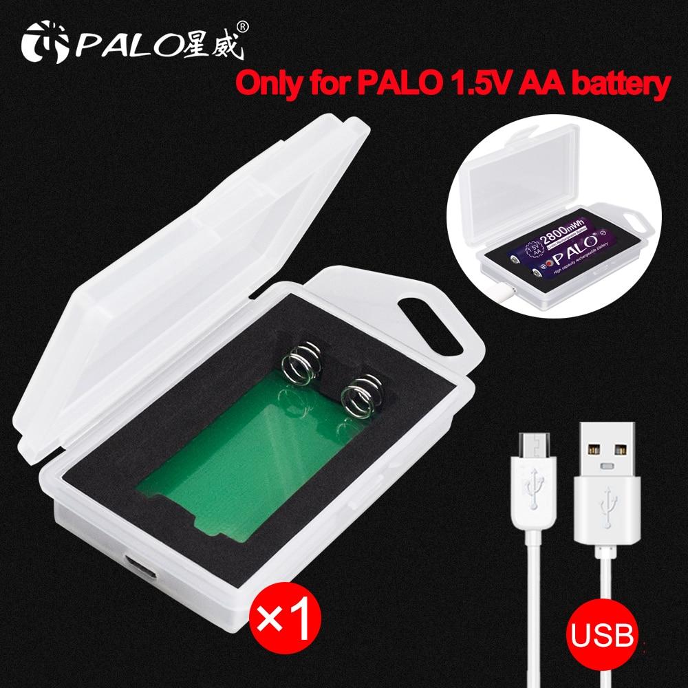 Palo 2 ranuras 2800mWh 1,5 V AA li-ion cargador de batería recargable USB cargador sólo para PALO 1,5 V AA batería de litio caja de carga