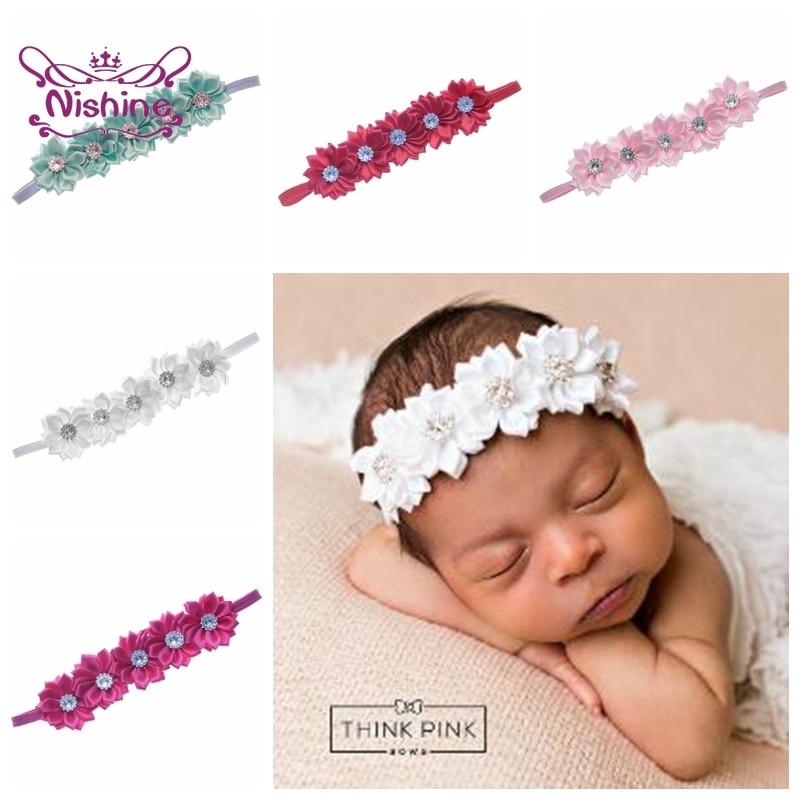 Five Polygonal Flowers Baby Girls Headband Boutique Rhinestone Floral Hairband Solid Color Headwear