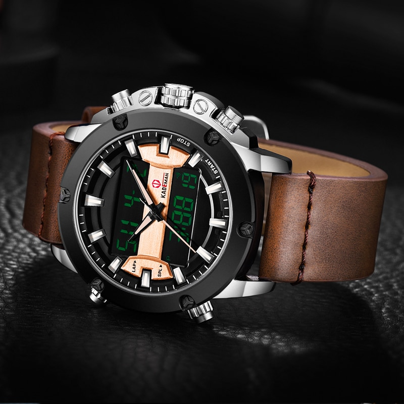 KADEMAN Mens Watches TOP Luxury Sport Tech Watch Brand Quality 3ATM Waterproof LED Military Wristwatch Casual Leather Relogio