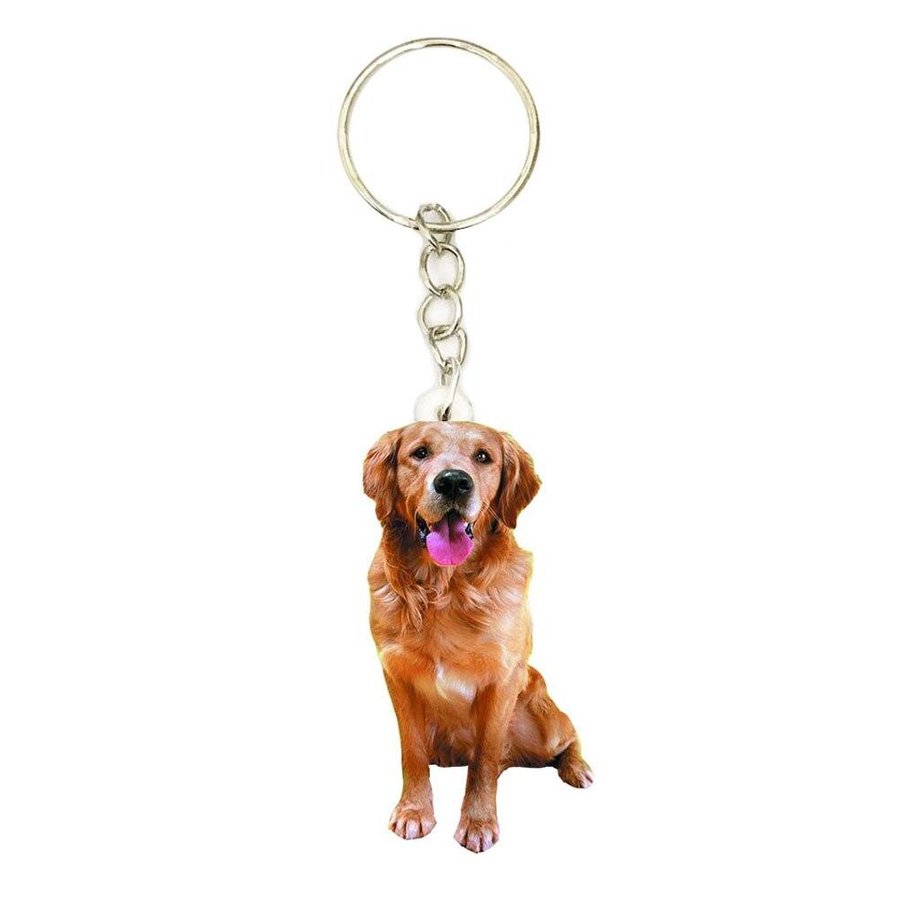 Acrylic Golden Retriever Dog Keyring cute mini Keychain Men Key Chain Gift for Women car key for Boyfriend Bag Charms trendy