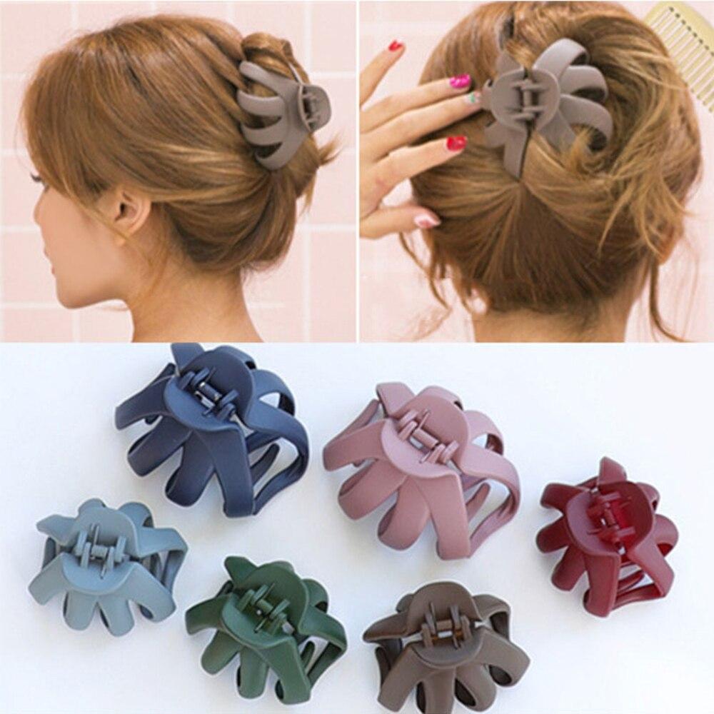 Coreano de moda de Mujeres de horquilla Simple gran pelo mate Clip garras de baño disco pelo accesorios para el pelo 6 colores