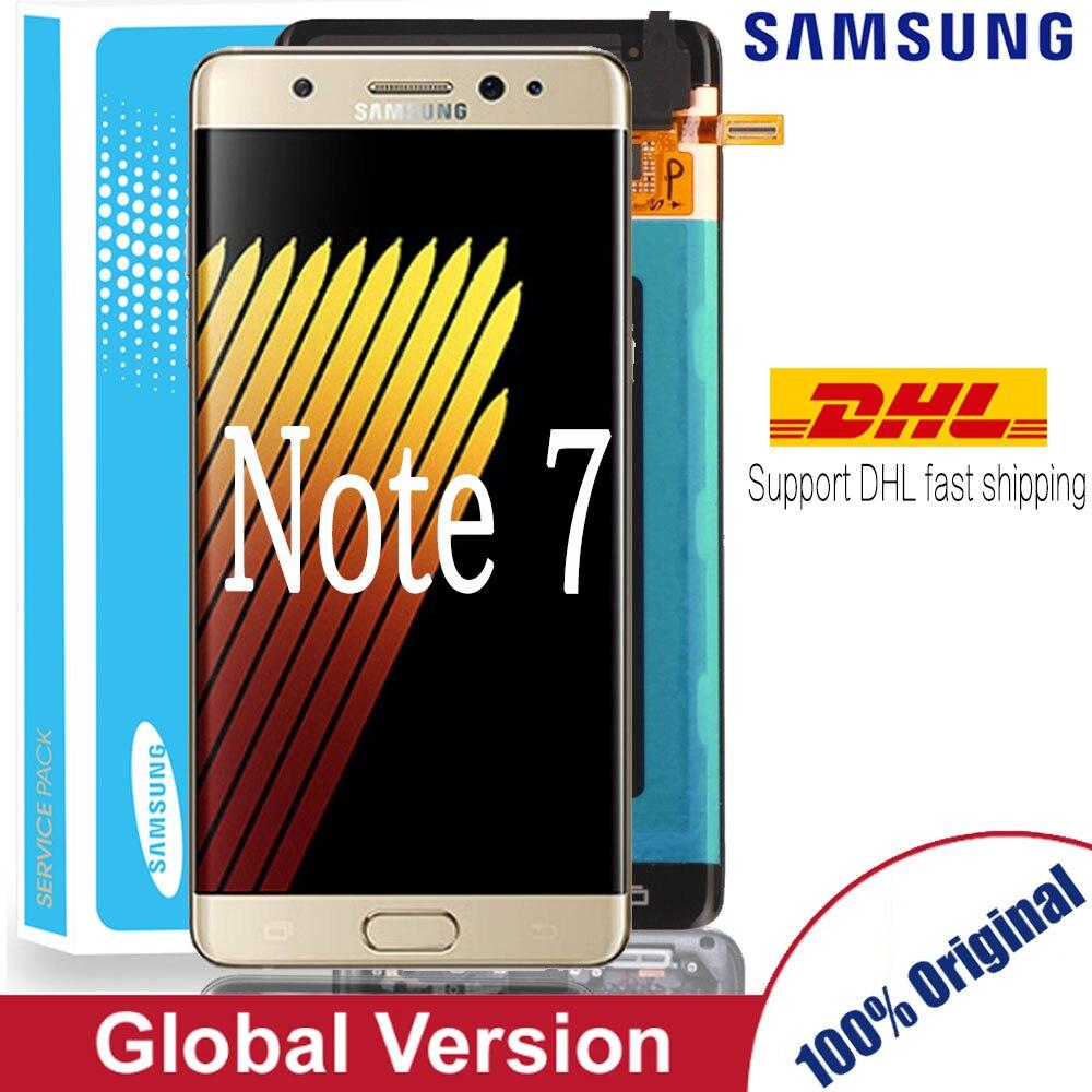 Original 5.7 polegadas super amoled para samsung nota fã edição fe nota 7 n930f n935f display lcd tela de toque digitador assembléia