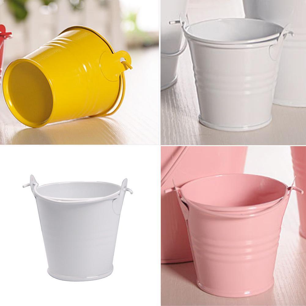 1 pçs mini balde criativo balde colorido vaso casa artesanato pequeno folha de flandres ferro doces barril ornamentos s4x1