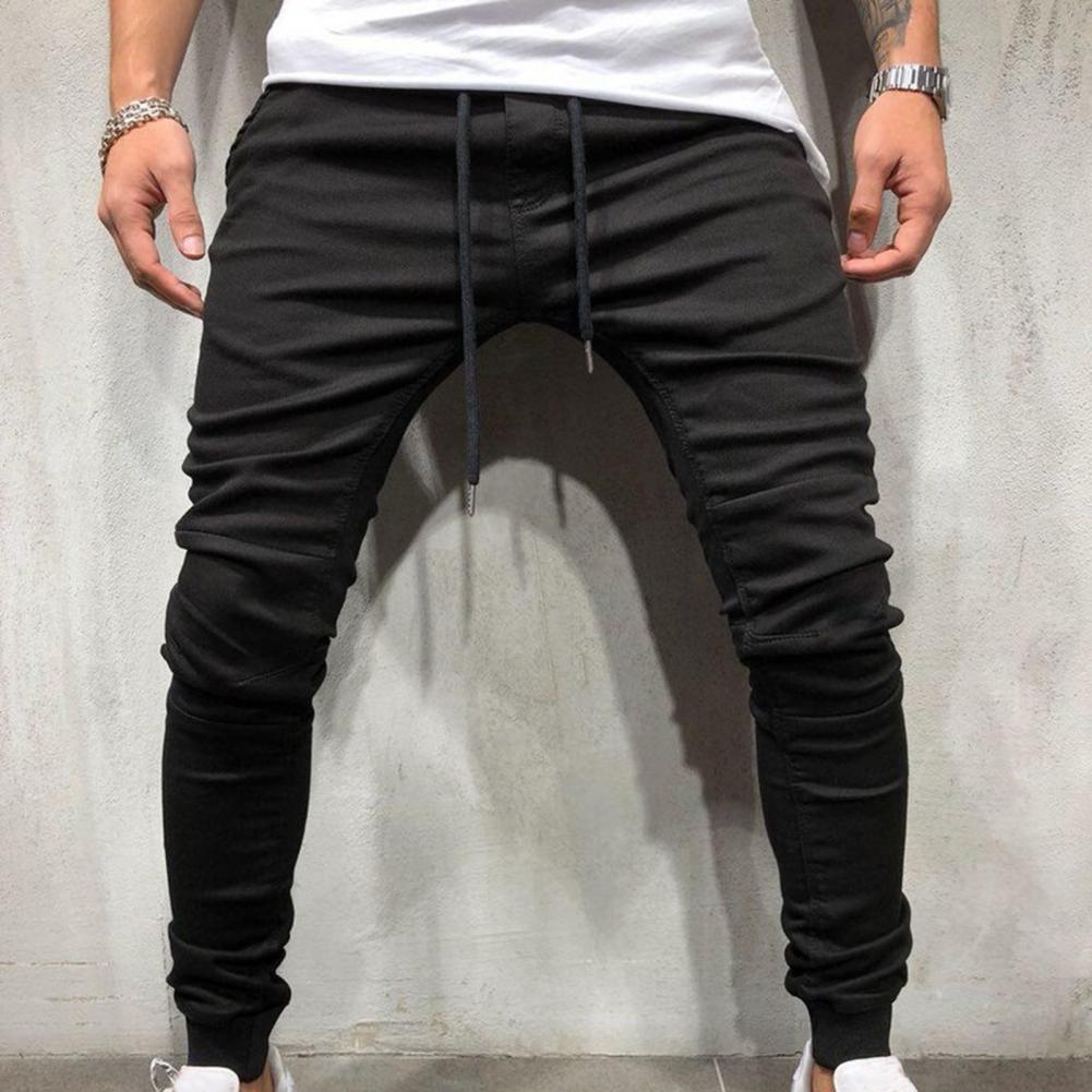 Новинка 2021, модные мужские штаны в стиле хип-поп, мужские спортивные брюки, слаксы, повседневные эластичные джоггеры, спортивные однотонные ...