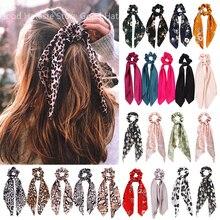 אופנה הדפס מנומר קשת סאטן בנות שיער אלסטי להקות סרט ארוך קוקו צעיף שיער עניבת נשים פצפוצי שיער אבזרים