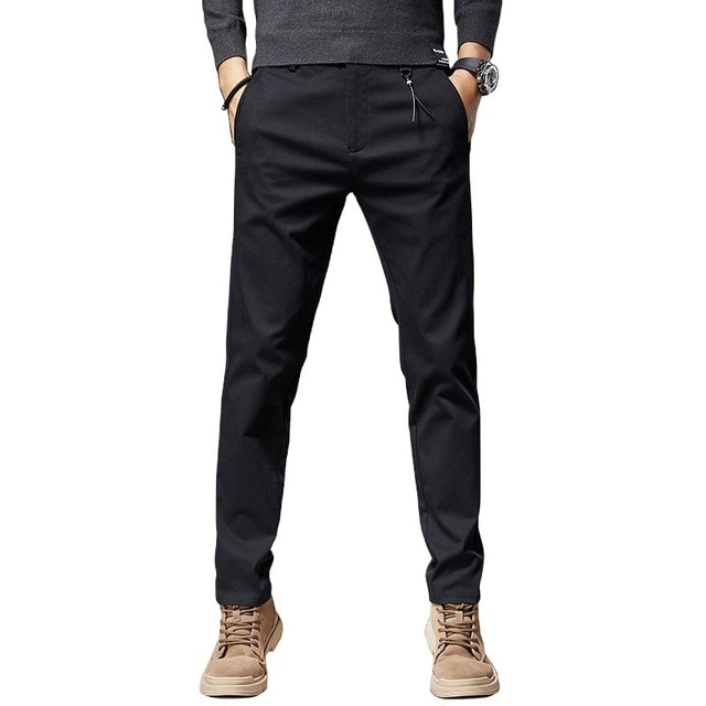 Winter New Work Pants Men's Business Casual Pants Korean Version of The Slim-fitting Tooling Trousers Trendy Calf Trousers 8