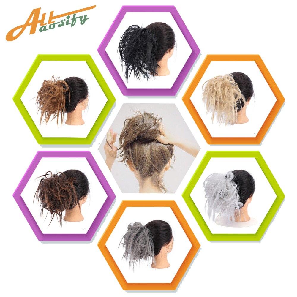 Allaosify cabello desordenado moño Scrunchie para mujer extensiones de cabello peluca sintética anillo envoltura Chignon negro marrón alta temperatura F