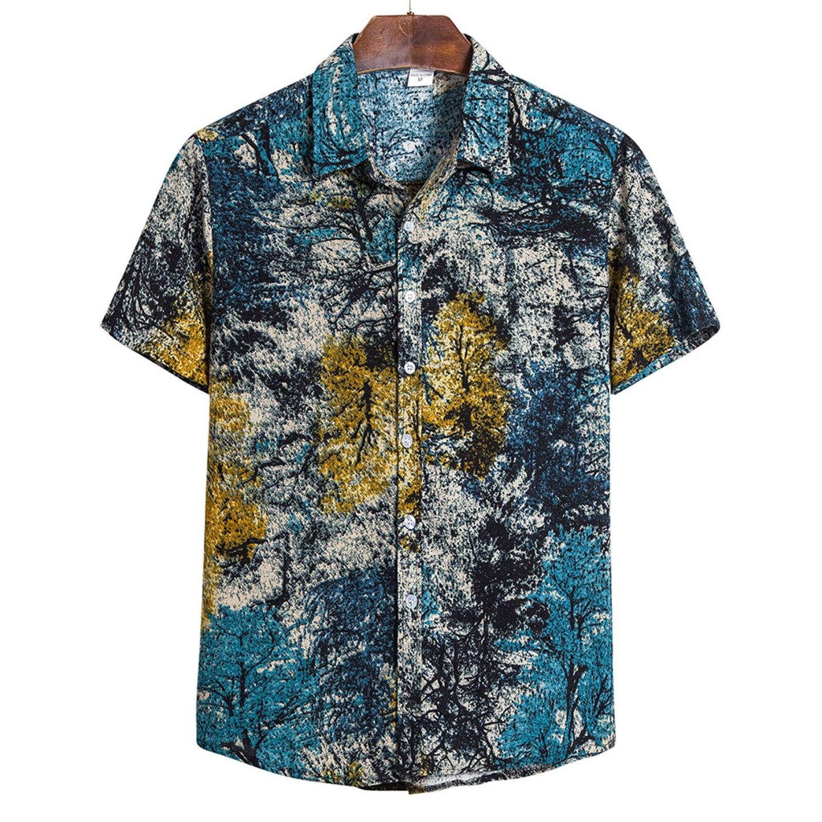 Mens Casual Shirt Vintage Print Short Sleeve Hawaiian Shirts Blouse Men Clothing Streetwear For Ropa Hombre
