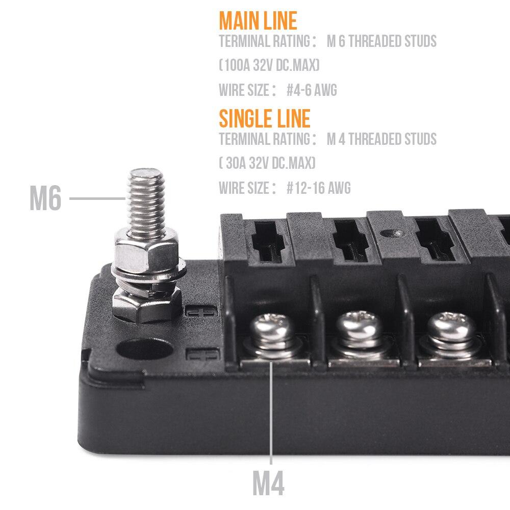 MICTUNING 12 Way DC12V-32V Automotive Blade Block Holder w/ Screw Nut Terminal Fuse Box Holder for Car Truck Vehicle Marine Boat