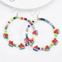 otoky vintage circle hoop earrings for women girls fashion big 7cm fruit beaded earrings girls summer bohemia piercing earrings