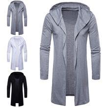 Coat Men Hoodies Casual European and American style solid color Long Sleeve Loose Coat