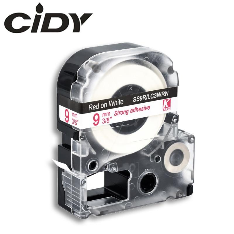 Cinta adhesiva LC-3WRN 9mm rojo sobre blanco SS9RW para kingjim/epson label maker LW300 LW400 LW-600P