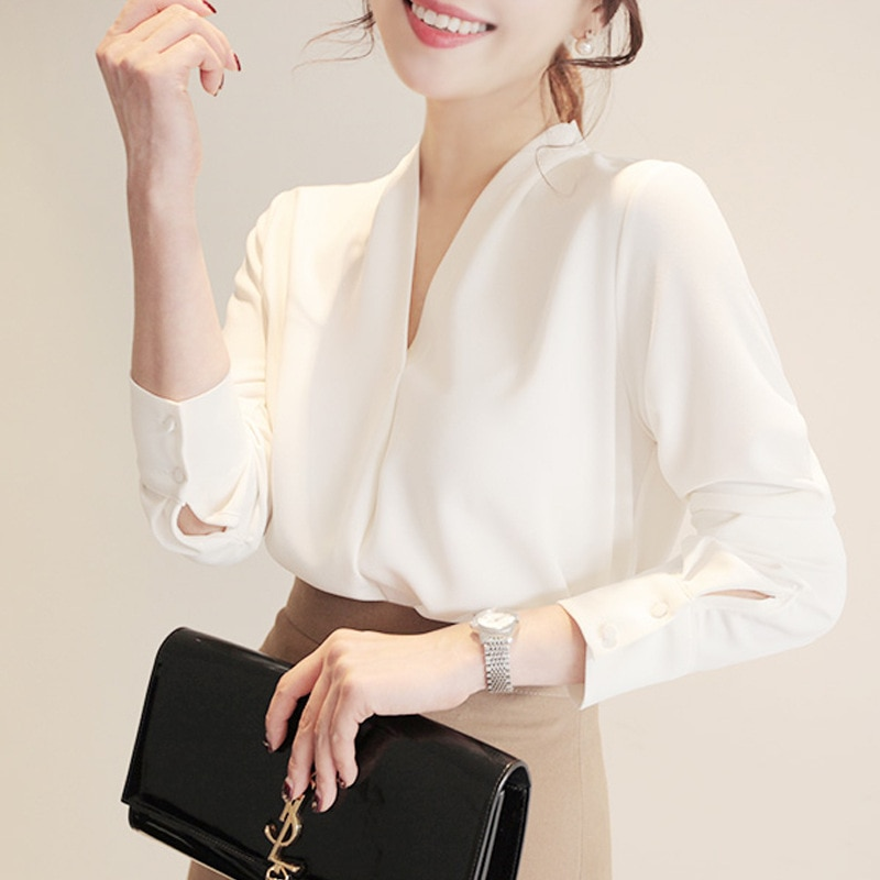 Long Sleeve Solid White Chiffon Office Shirts Women Clothes Ladies Tops and Blouses Blusas Mujer De Moda 2021 Korean Fashion
